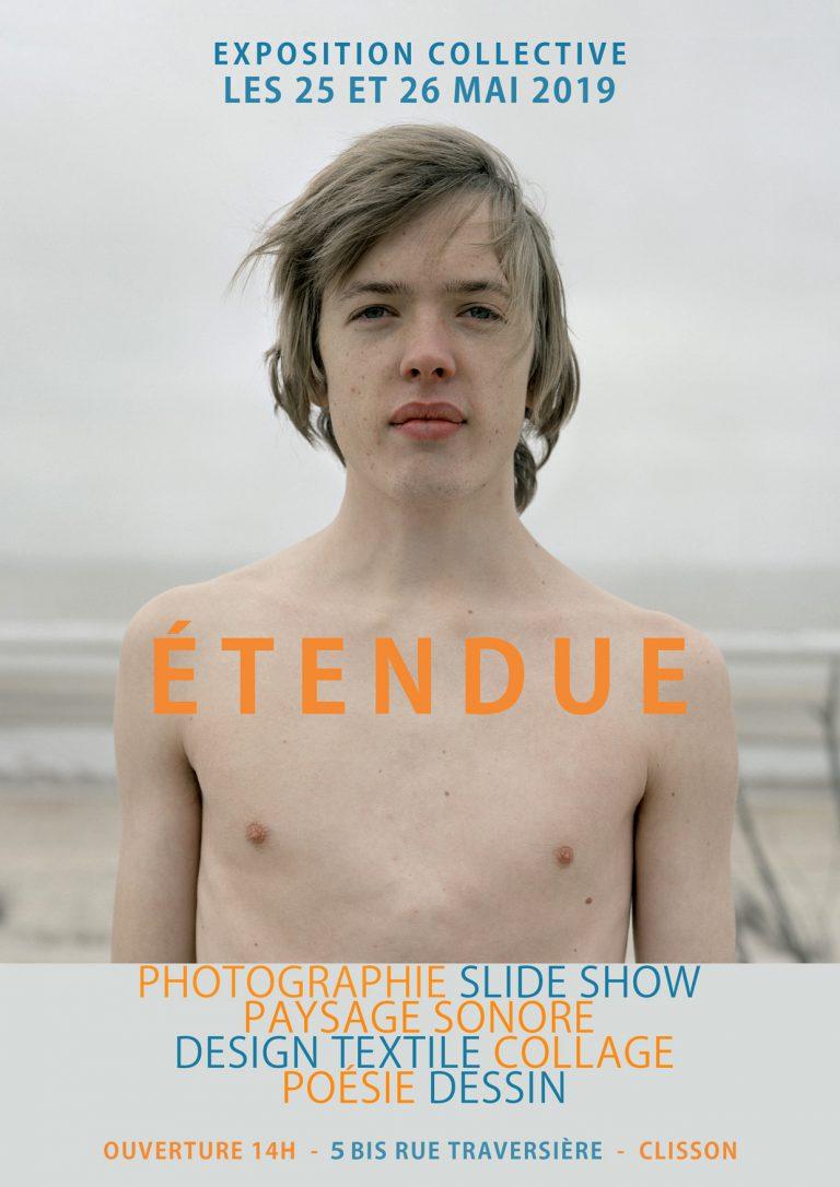 Flyer d'exposition collective en 2005 et dont le thème est : étendue